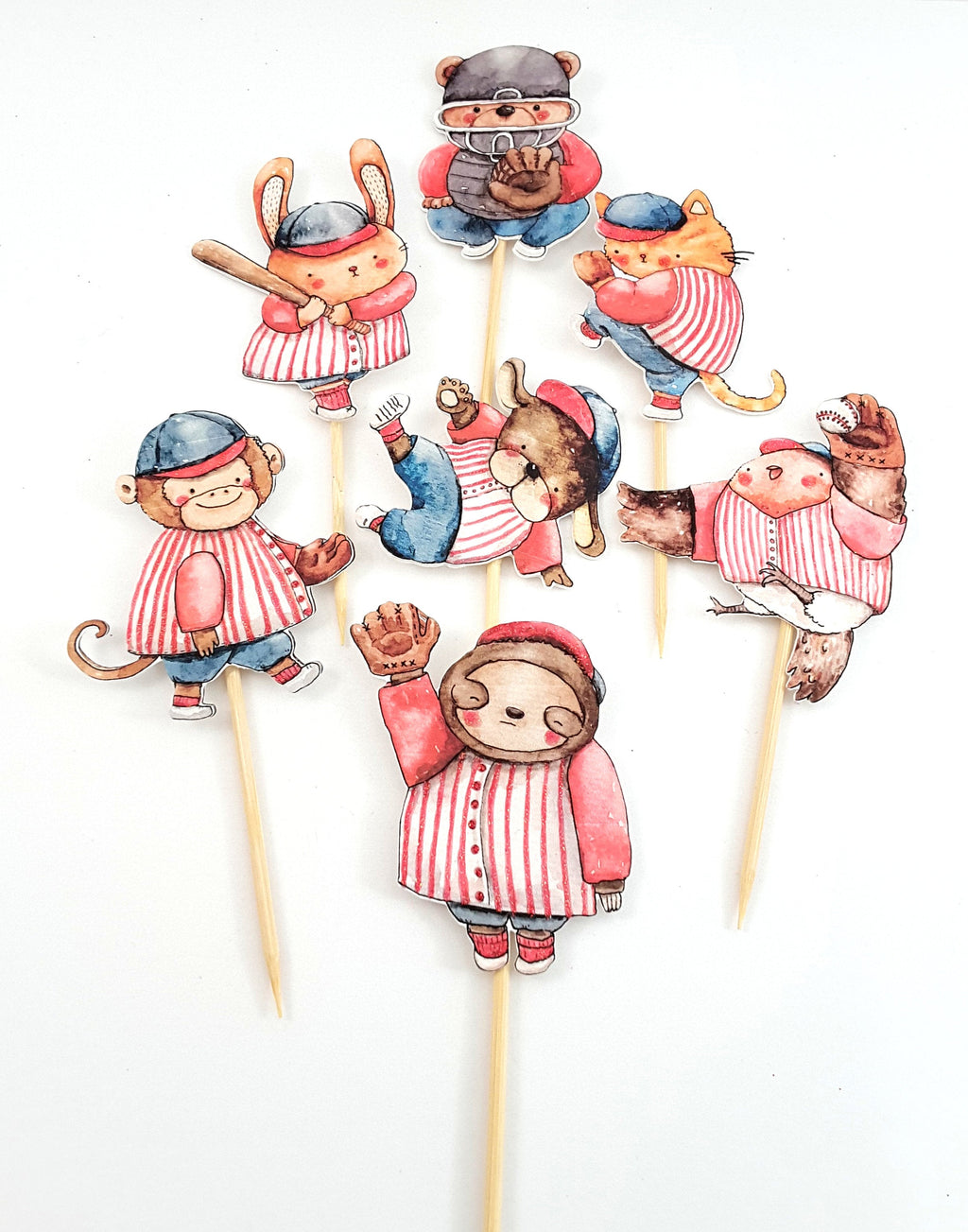 Watercolor Animal Baseball Team Cupcake Toppers, Party Decor, Party Supplies - TheLastWordBish.com