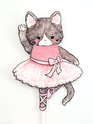 Cake Topper with Pink Kitty Cat Ballerina, Cake Decoration, Party Decor - TheLastWordBish.com