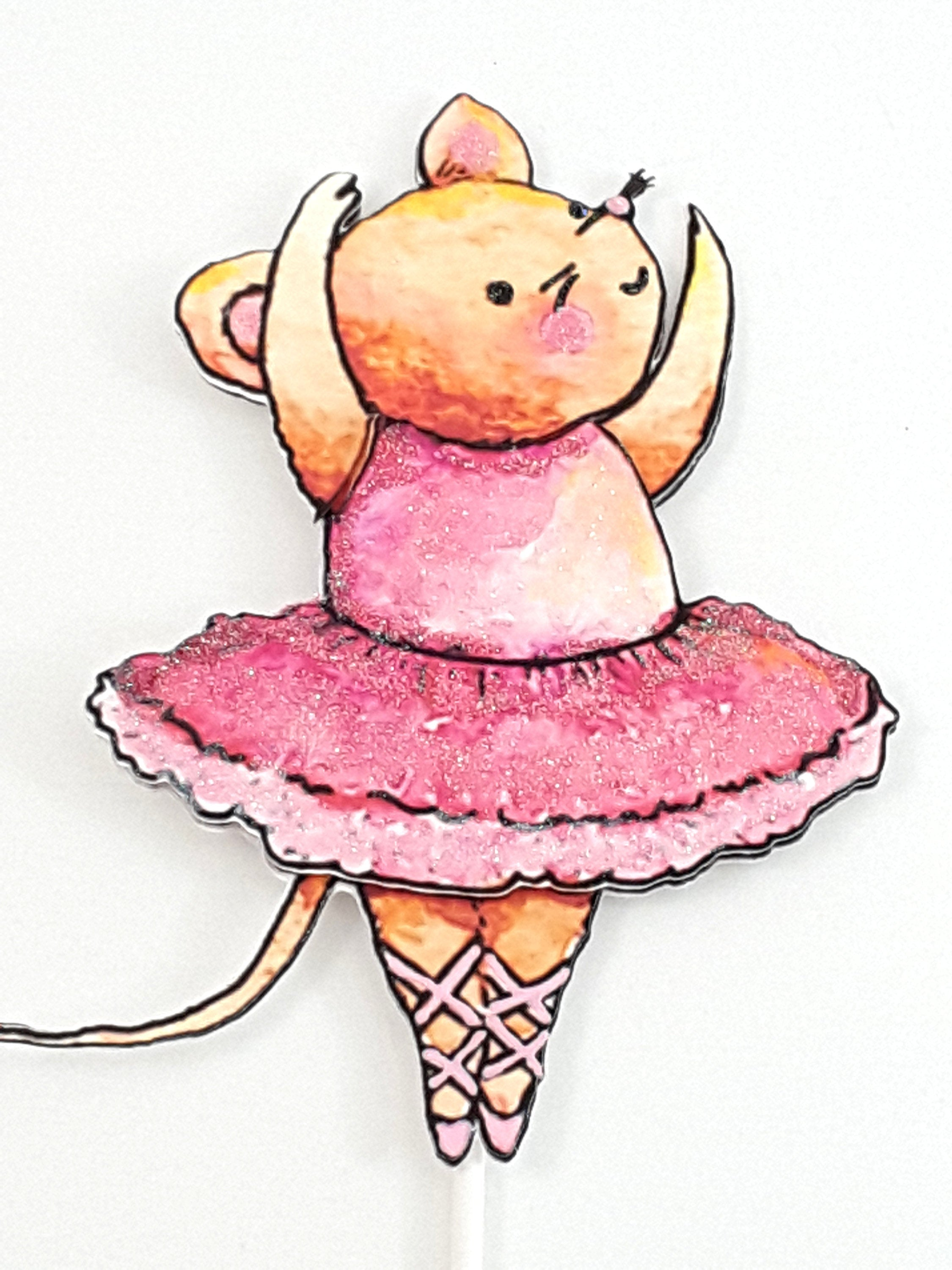 Cake Topper with Watercolor Mouse Ballerina, Birthday Party Decor - TheLastWordBish.com