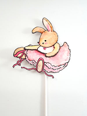 Cake Topper with Adorable Watercolor Ballerina Bunny, Birthday Party Decor, Girl's Birthday Party - TheLastWordBish.com