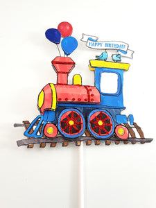 Cake Topper with Watercolor Train, Personalized for Birthday Party or Baby Shower - TheLastWordBish.com