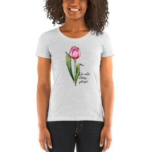 Watercolor Pink Tulip Golden Rule Ladies' short sleeve t-shirt - TheLastWordBish.com