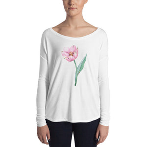 Ladies' Long Sleeve Tee with Pretty Watercolor Pink Tulip - TheLastWordBish.com