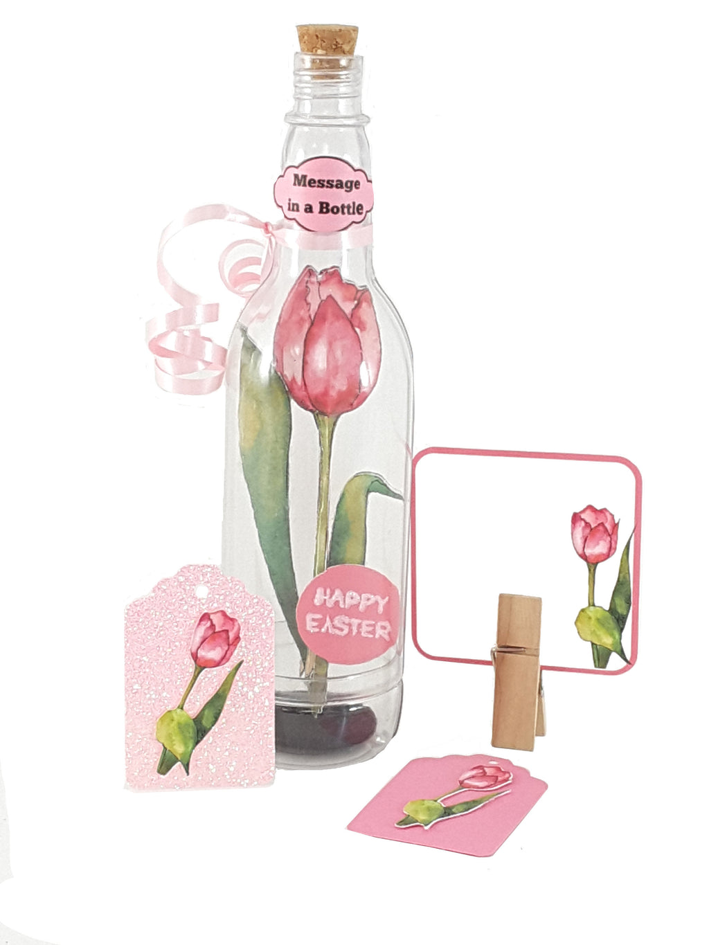 Easter Greeting Card Pink Watercolor Tulip Message in a Bottle - The Last Word Bish