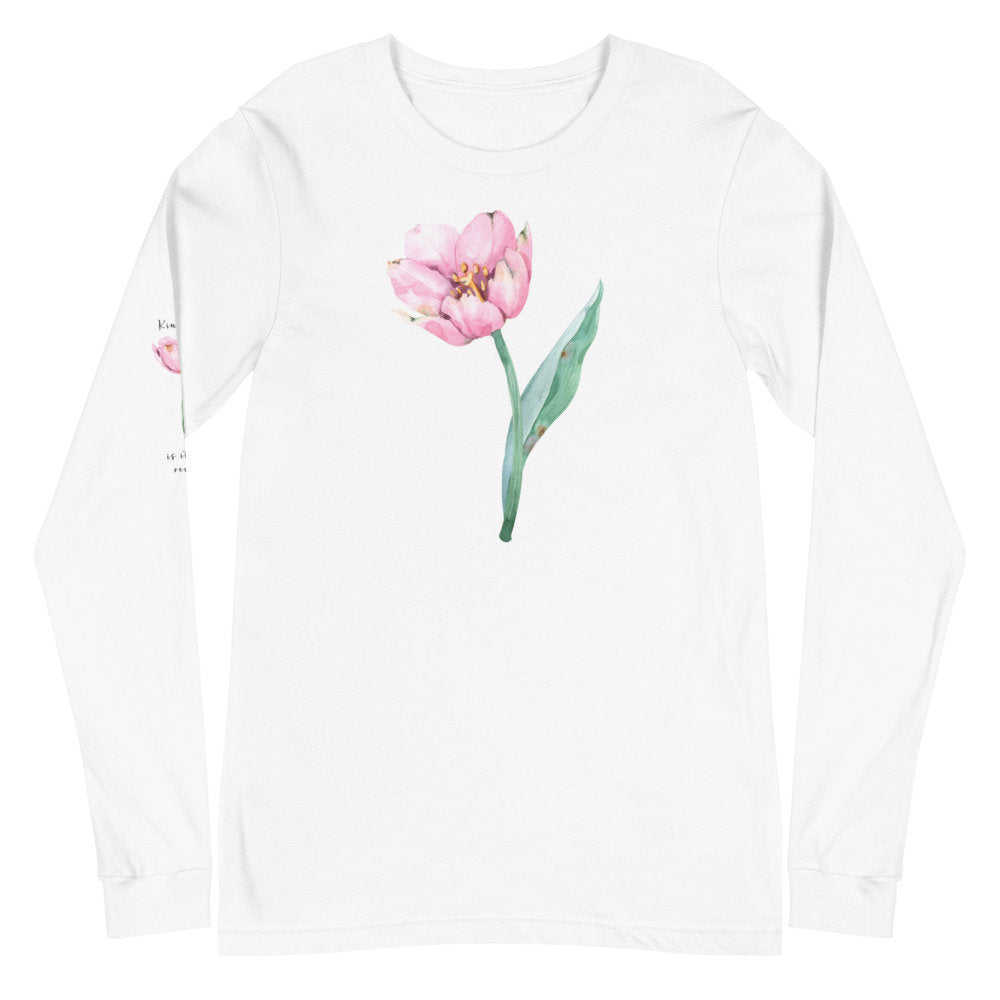 "Pink Watercolor Kindness Unisex Long Sleeve Tee with ""Kindness is its own reward"" printed on sleeve - TheLastWordBish.com"