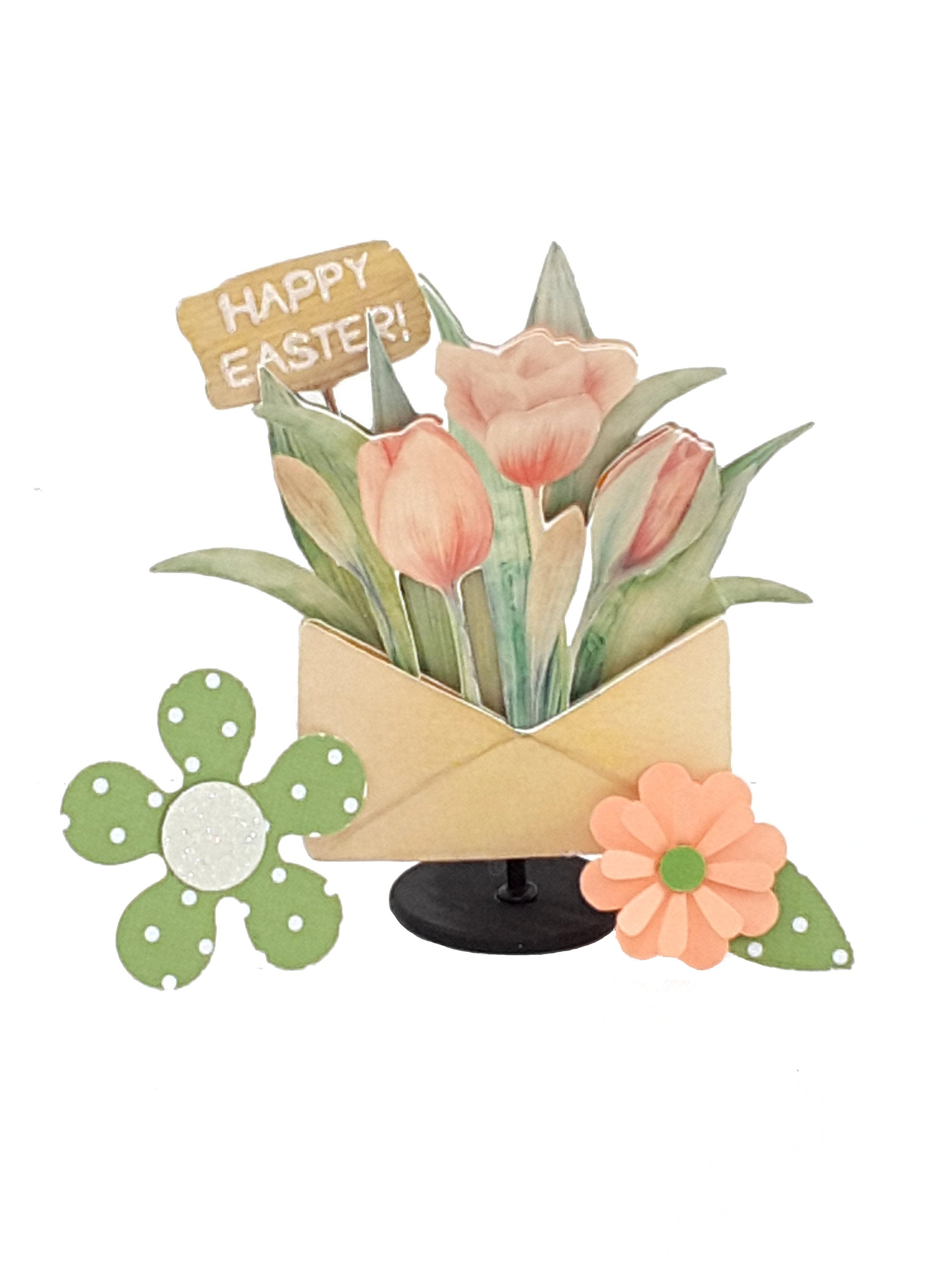 Personalized Easter Greeting Card with Stand Up 3D Peach Tulips - TheLastWordBish.com