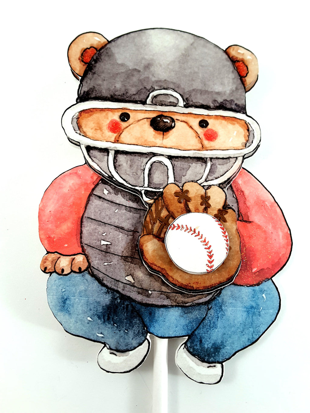 Baseball Cake Topper with Watercolor Teddy Bear Catcher, Baseball Birthday Party Decor - TheLastWordBish.com