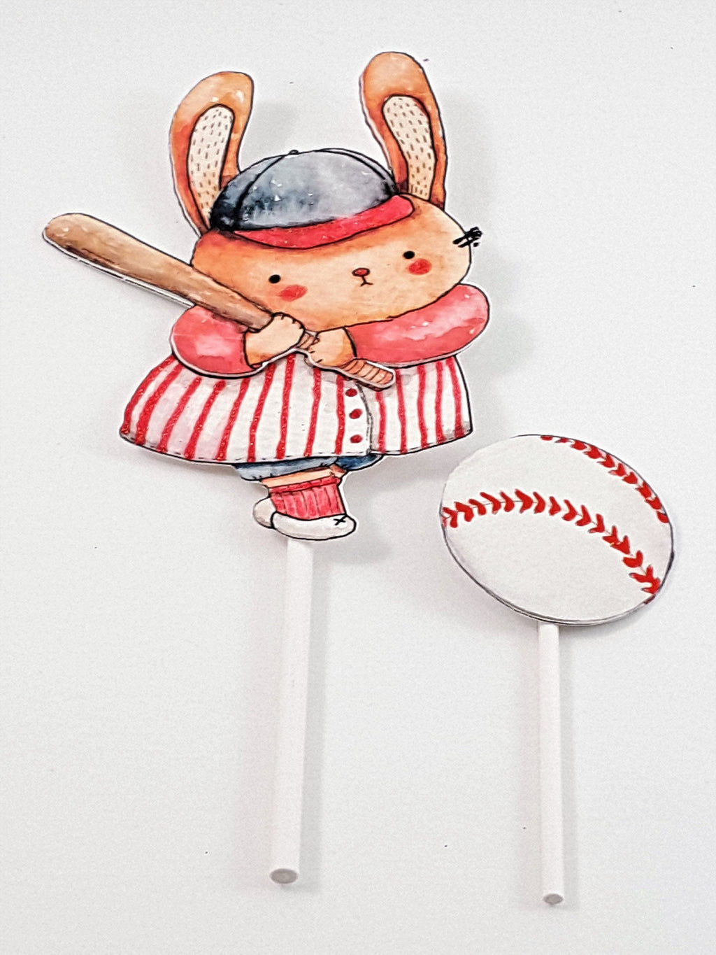 Baseball Cake Topper 2 Piece Set with Watercolor Bunny Rabbit Batter and Ball, Birthday Party Decor - TheLastWordBish.com