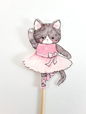 Cupcake Toppers with Watercolor Animal Ballerinas, Birthday Party - TheLastWordBish.com