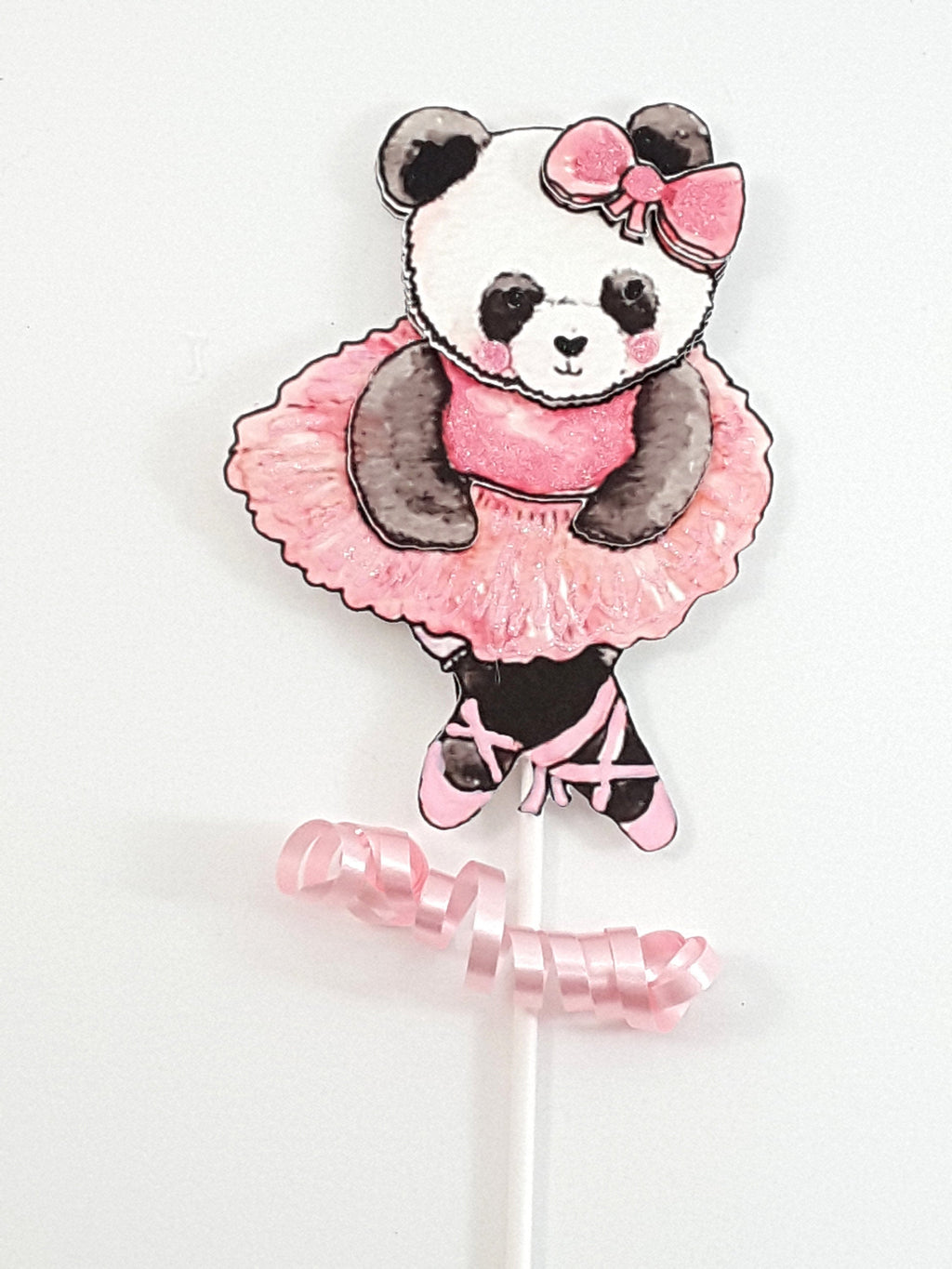Cake Topper Watercolor Panda Bear Ballerina, Girl's Birthday Party - TheLastWordBish.com