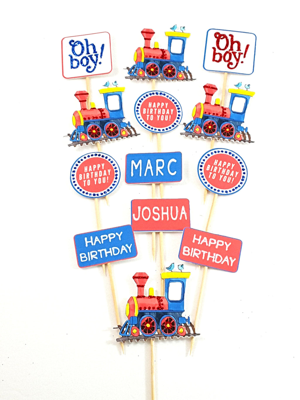 Personalized Watercolor Train Cupcake Toppers for Birthdays or Baby Showers - TheLastWordBish.com
