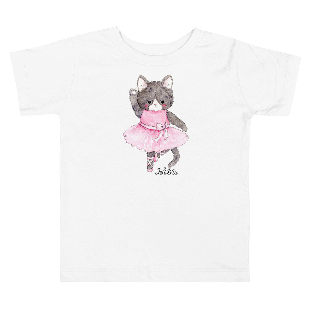 Unisex Toddler Short Sleeve Tee with Watercolor Kitty Cat Ballerina - TheLastWordBish.com