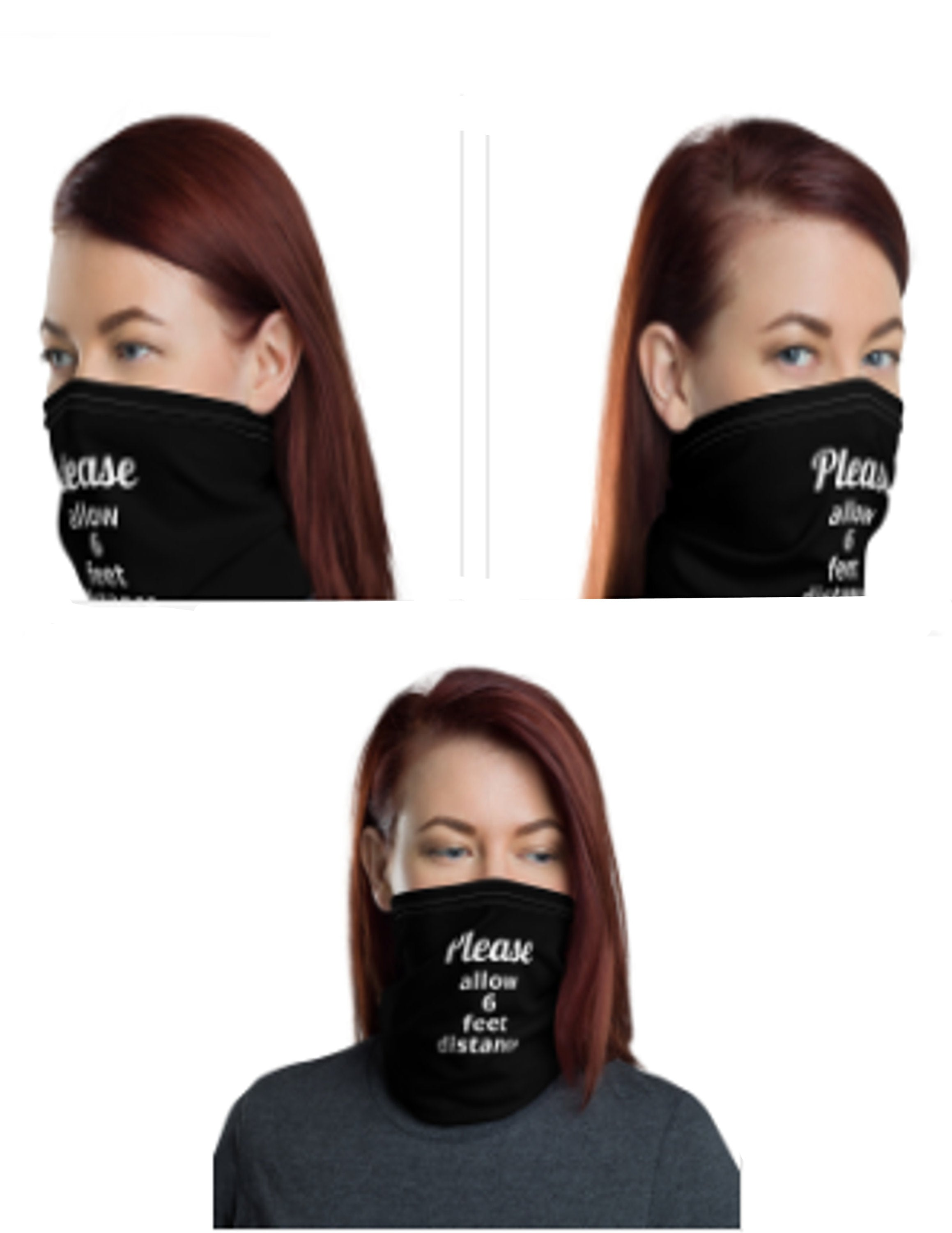 "Face Mask for Social Distancing, ""Please allow 6 feet distance"" Neck Gaiter - TheLastWordBish.com"