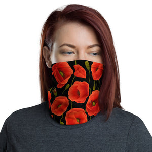 Women's Face Mask, Red Poppies on Black Neck Gaiter - TheLastWordBish.com