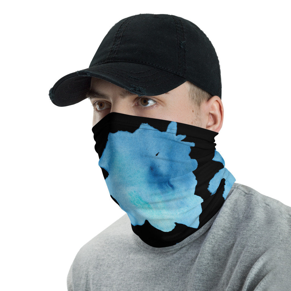 Face Mask with Watercolor Blue Design on Black,  Washable Neck Gaiter - TheLastWordBish.com