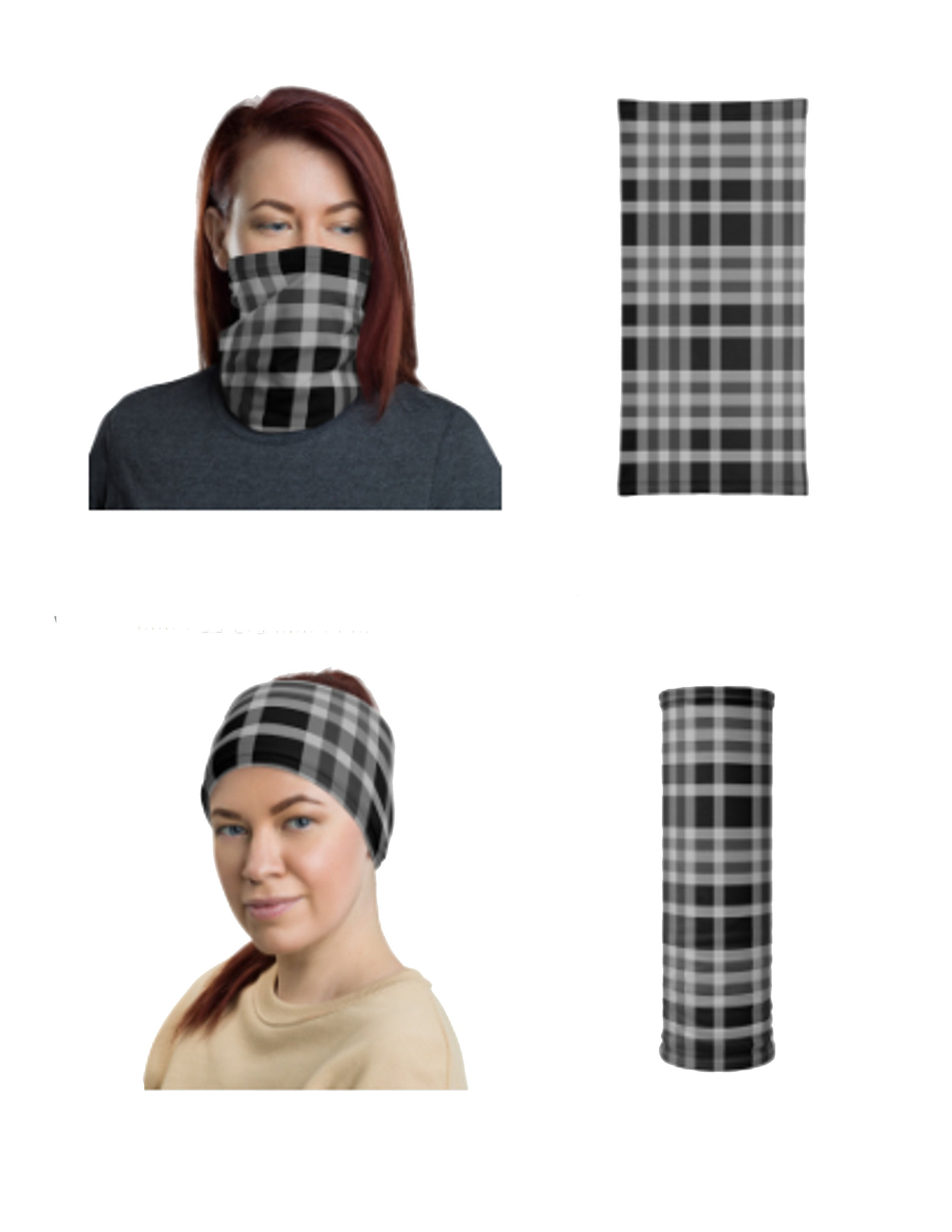 Black Plaid Face Mask for Men and Women, Neck Gaiter - TheLastWordBish.com