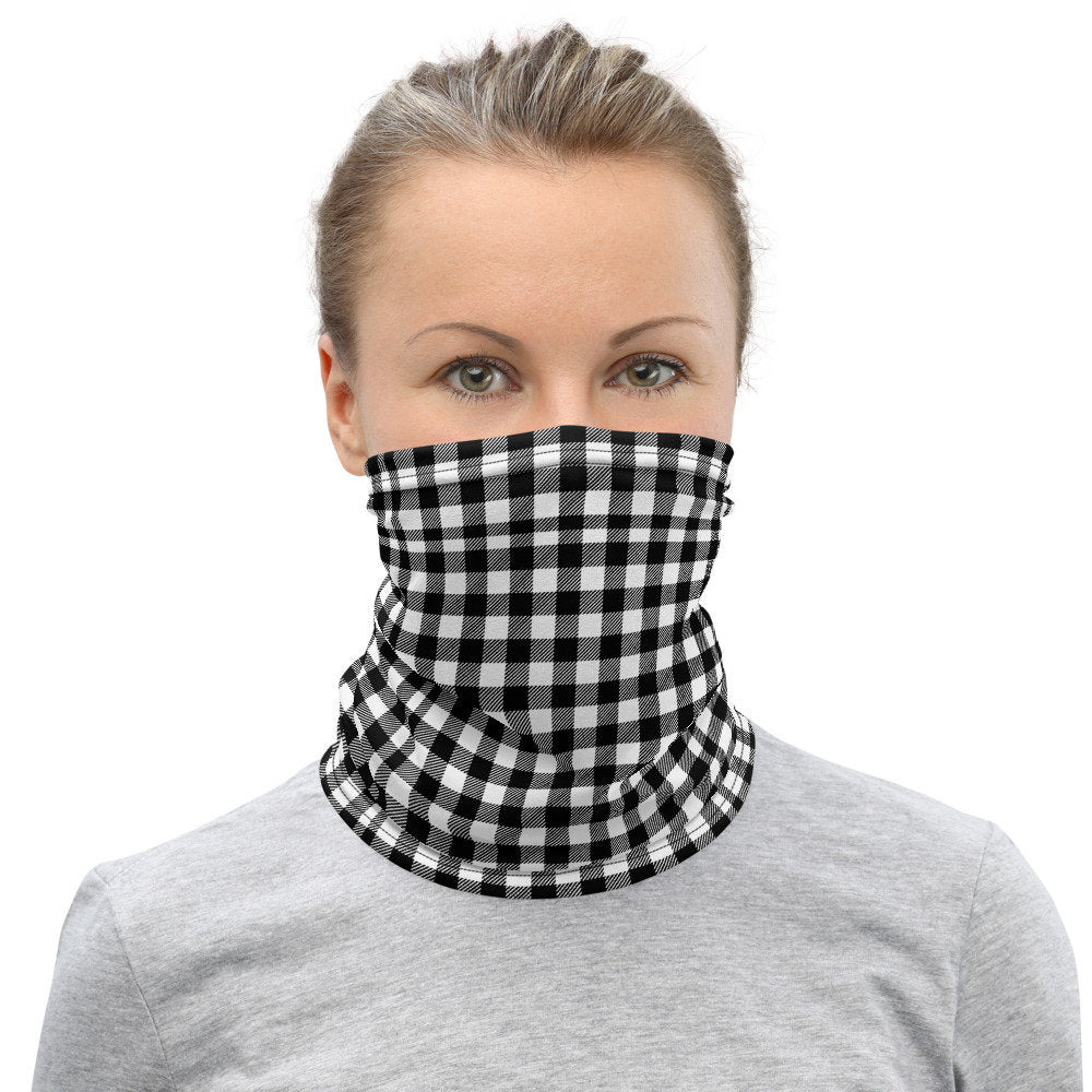 Checkered Face Mask, Black & White Check Neck Gaiter for Men and Women - TheLastWordBish.com