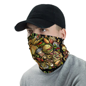Waiter Face Mask with Fast Food, Washable Neck Gaiter - TheLastWordBish.com