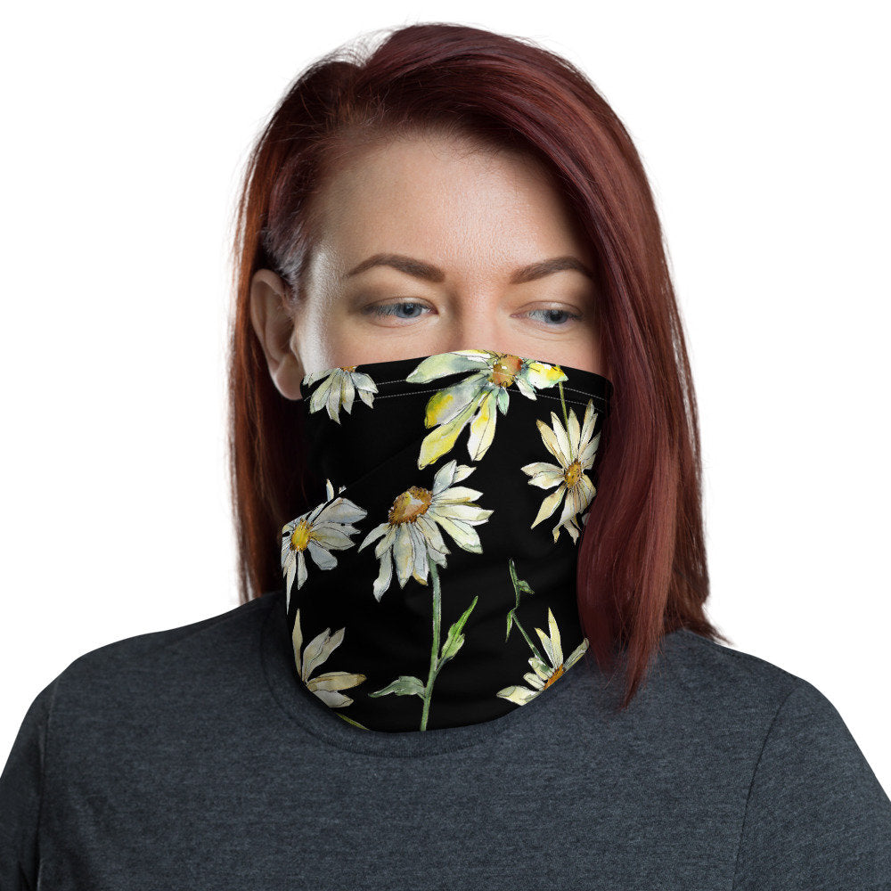 Women's Face Mask, Watercolor Daisy  Neck Gaiter - TheLastWordBish.com