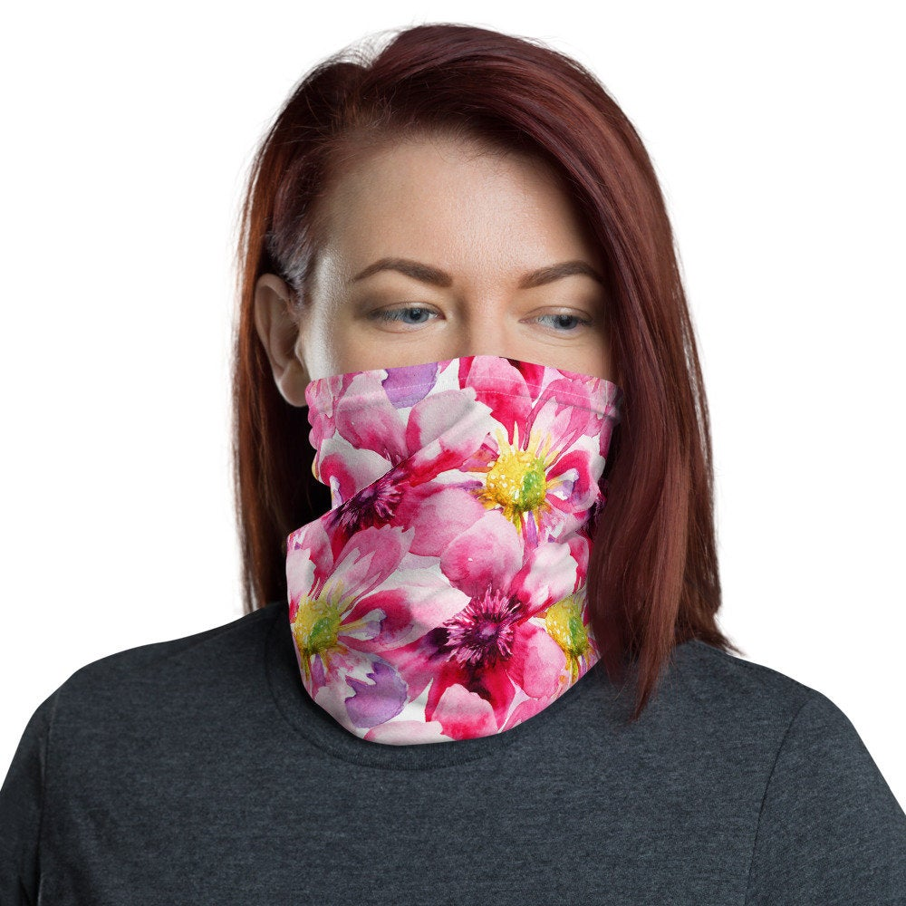 Pink Face Mask, Watercolor Pink Floral Neck Gaiter - The Last Word Bish