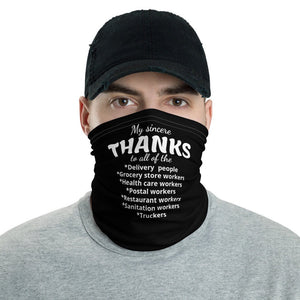 Appreciation Face Mask, Thanks to Essential Workers Neck Gaiter - TheLastWordBish.com