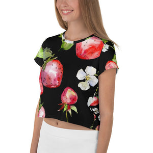 Strawberry Crop Top,  Women's Summer Cropped Top, Cropped T-shirt - TheLastWordBish.com
