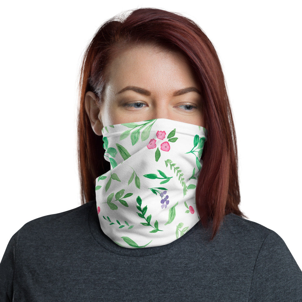 Women's Face Mask, Pink Floral Neck Gaiter - TheLastWordBish.com