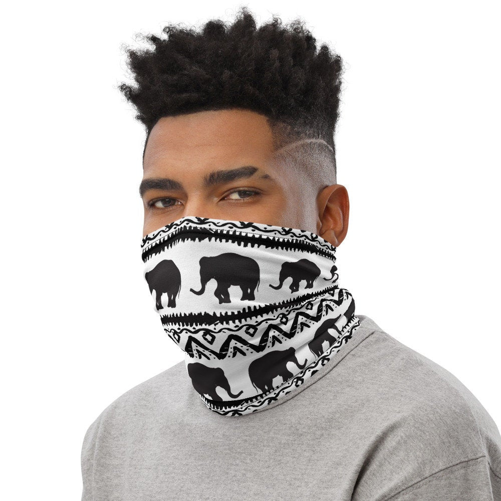 Elephant Face Mask, Black and White Neck Gaiter - TheLastWordBish.com