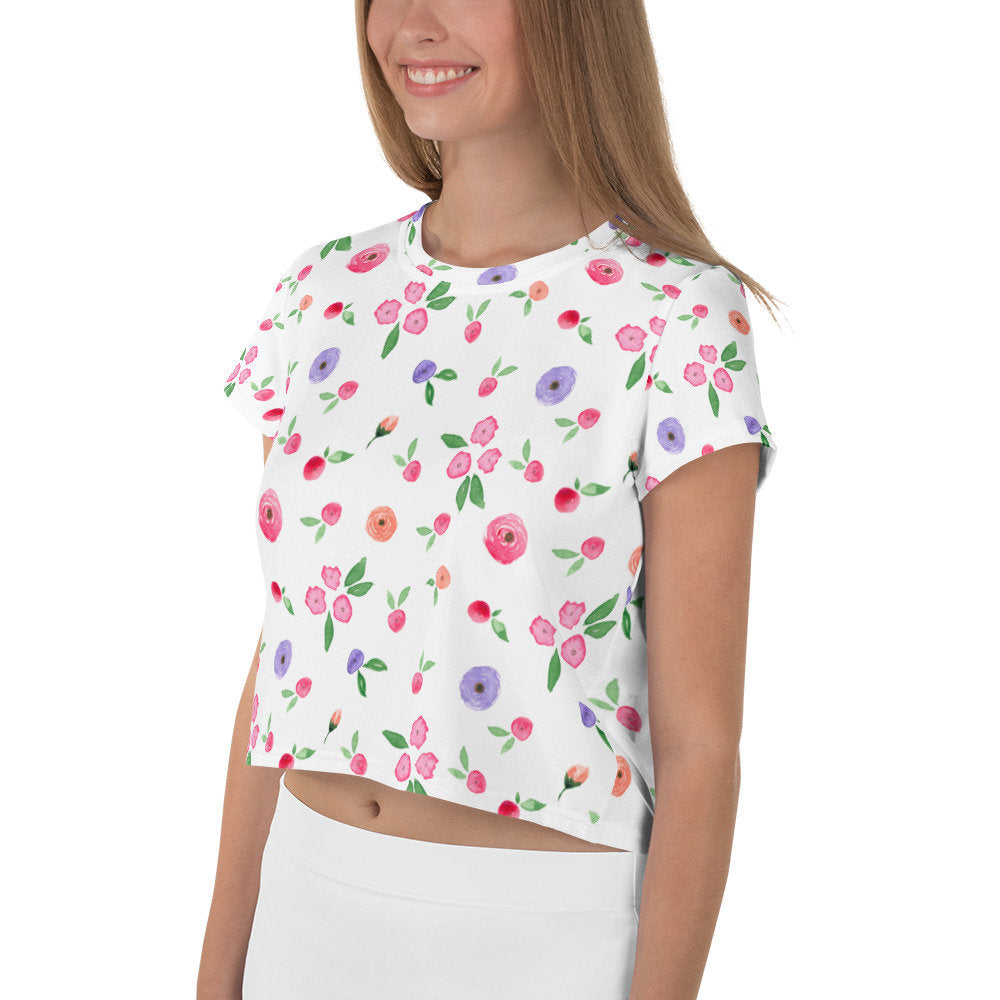 Women's Floral Crop T-Shirt, All-Over Print Crop Tee - TheLastWordBish.com