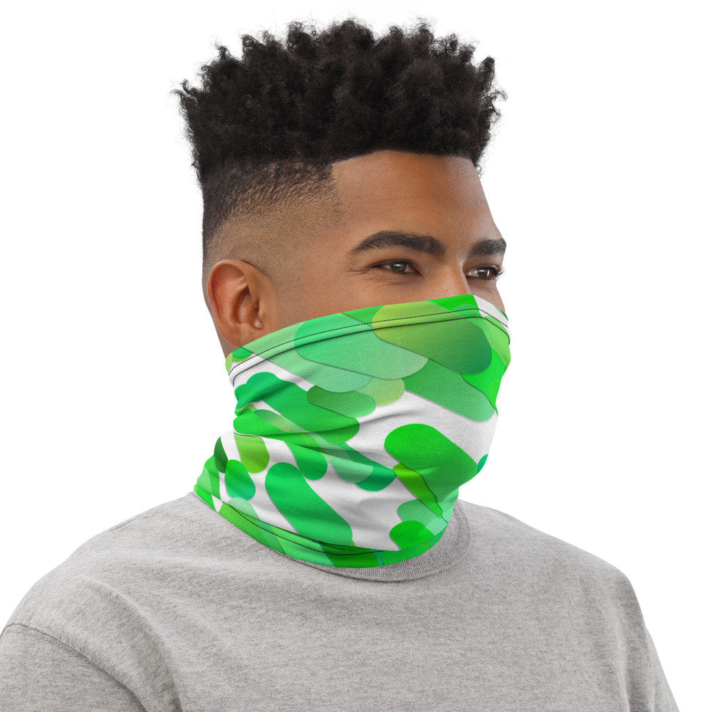 Green Face Mask, Green Watercolor Print Neck Gaiter - TheLastWordBish.com