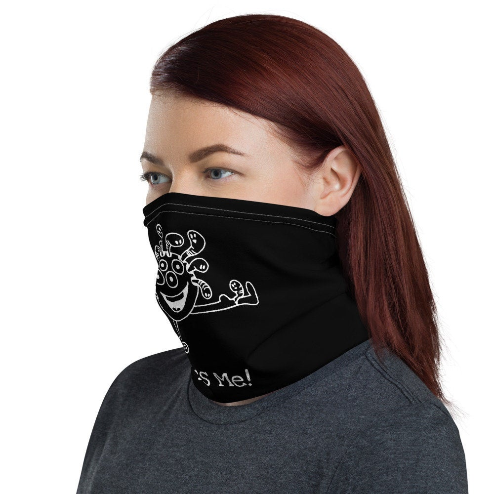 Funny Face Mask with Cute Monster Design, Neck Gaiter - TheLastWordBish.com