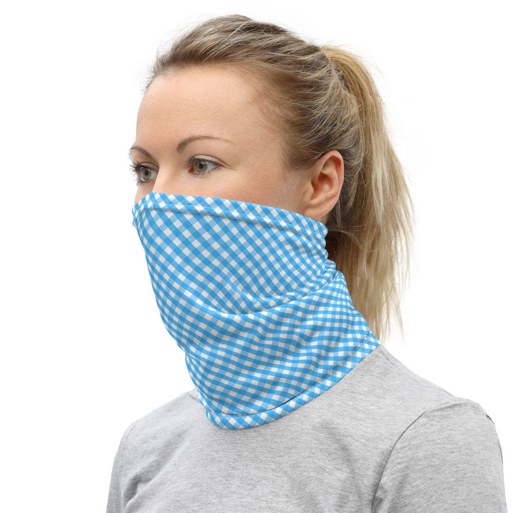 Blue Face Mask, Blue Checkered Neck Gaiter - TheLastWordBish.com
