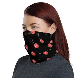 Women's Face Mask, Red Cherries on Black Neck Gaiter - TheLastWordBish.com