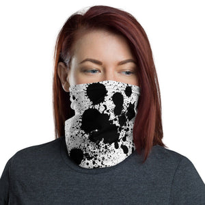 Face Mask, Black Paint Splotches on White Neck Gaiter - TheLastWordBish.com