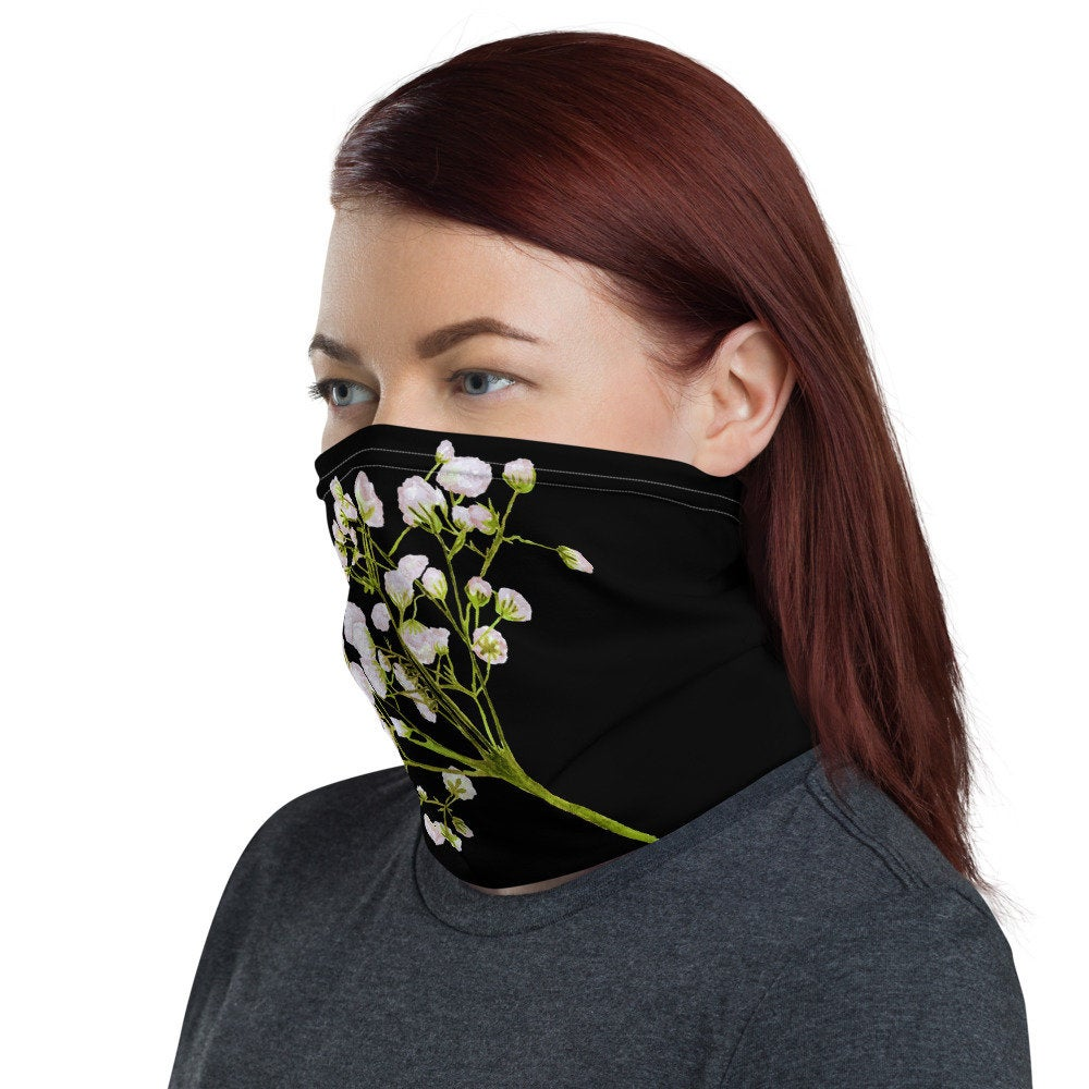 Women's Face Mask, White Floral on Black Neck Gaiter - TheLastWordBish.com