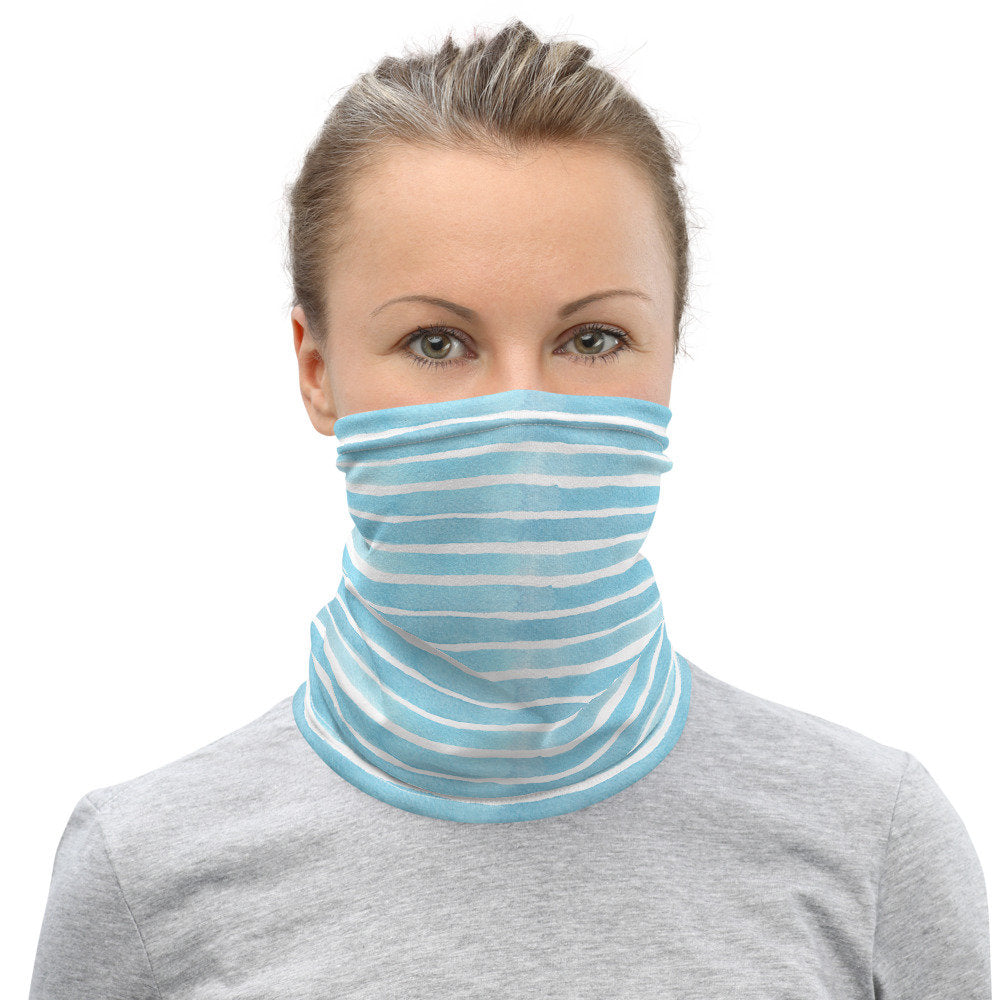 Face Masks,  Blue Watercolor Stripes, Face Gaiter - TheLastWordBish.com