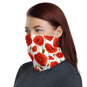 Women's Face Mask, Red Poppies on White Neck Gaiter - TheLastWordBish.com