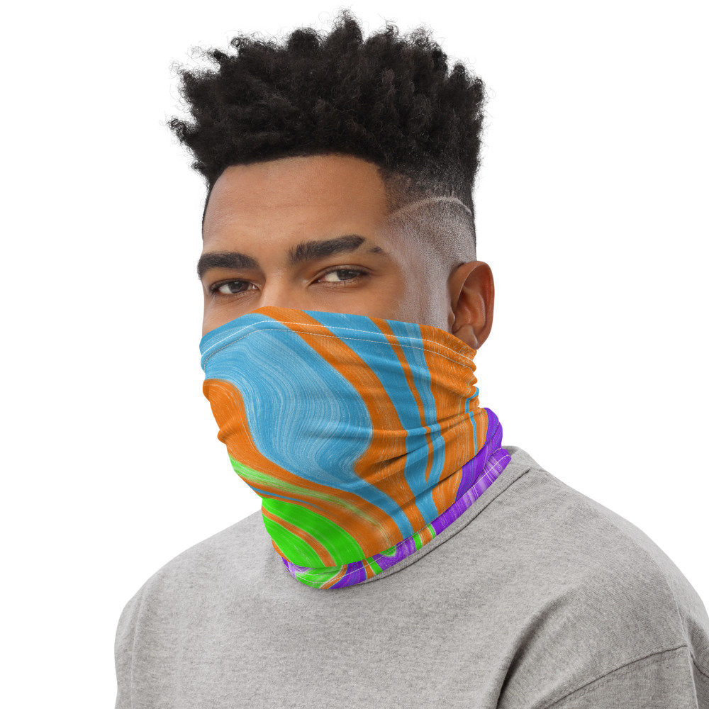 Colorful Face Mask, Marble Print  Neck Gaiter for Men and Women - TheLastWordBish.com