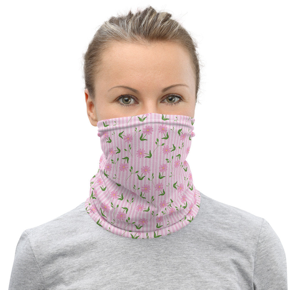 Pink Face Mask, Floral and Stripe Neck Gaiter for Women - TheLastWordBish.com