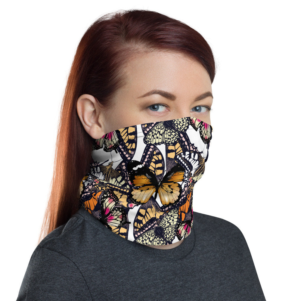 Women's Face Mask, Butterfly Print Neck Gaiter - TheLastWordBish.com