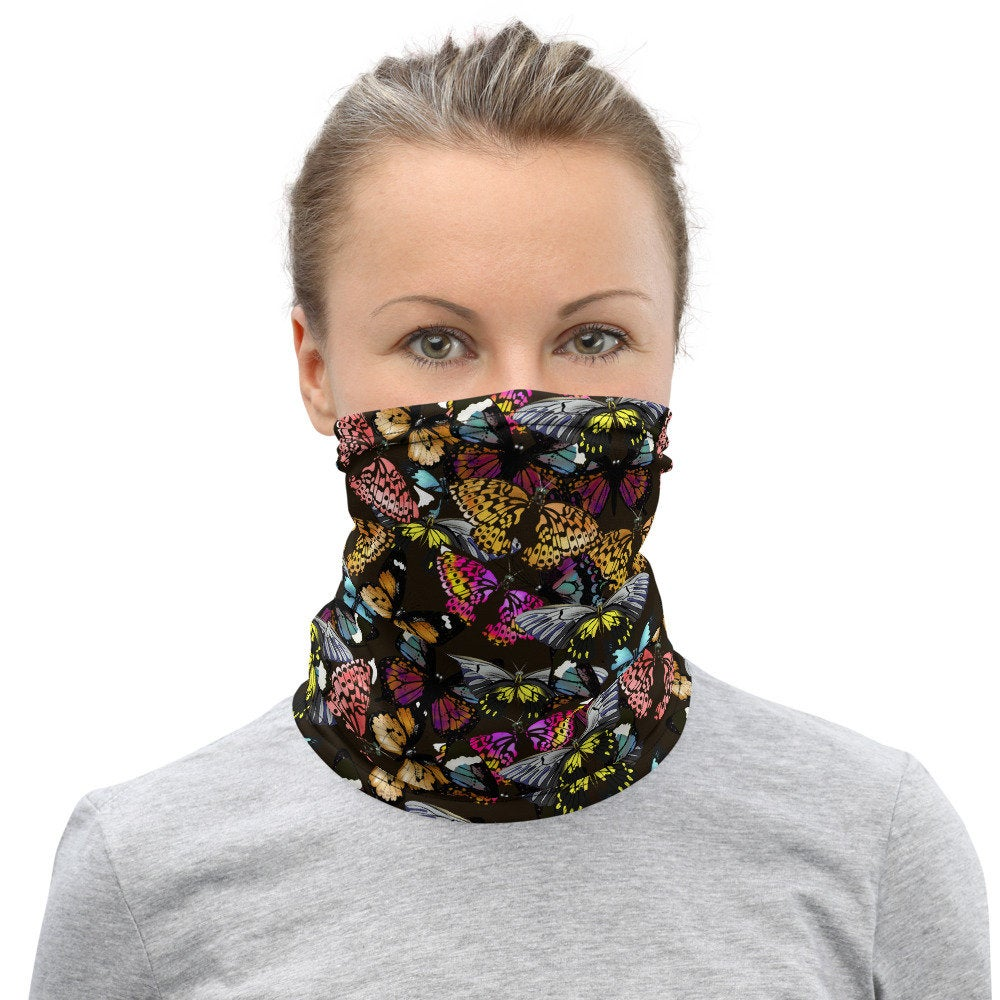 Butterfly Print Face Mask, Butterfly Headband, Neck Gaiter - TheLastWordBish.com