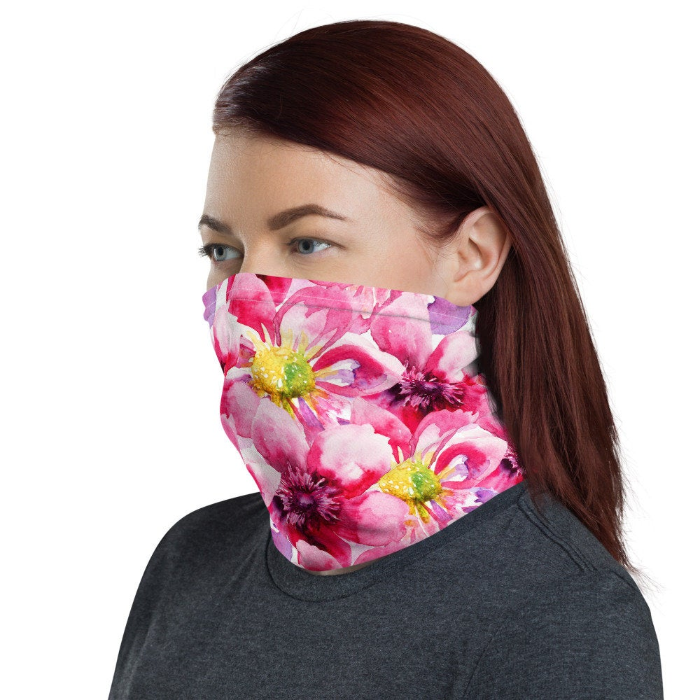Pink Face Mask, Watercolor Pink Floral Neck Gaiter - TheLastWordBish.com