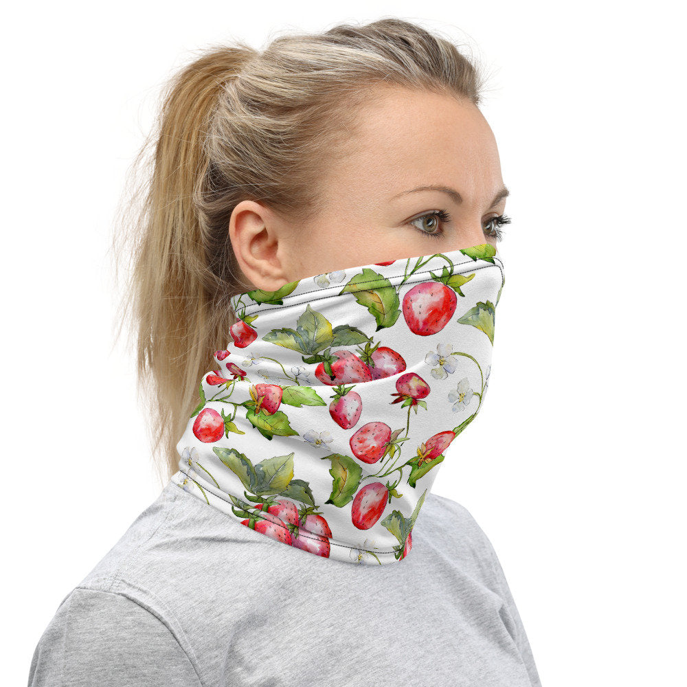 Women's Face Mask, Strawberry Neck Gaiter - TheLastWordBish.com