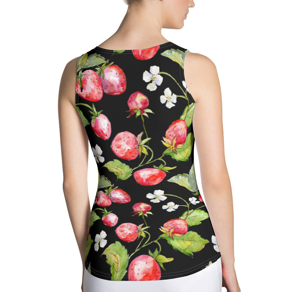 Strawberry Fitted Tank Top, Women's Tank Top, Summery Women's Tank - TheLastWordBish.com