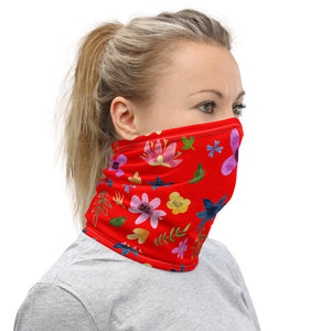 Red Face Mask with flowers, Reusable  Neck Gaiter - TheLastWordBish.com