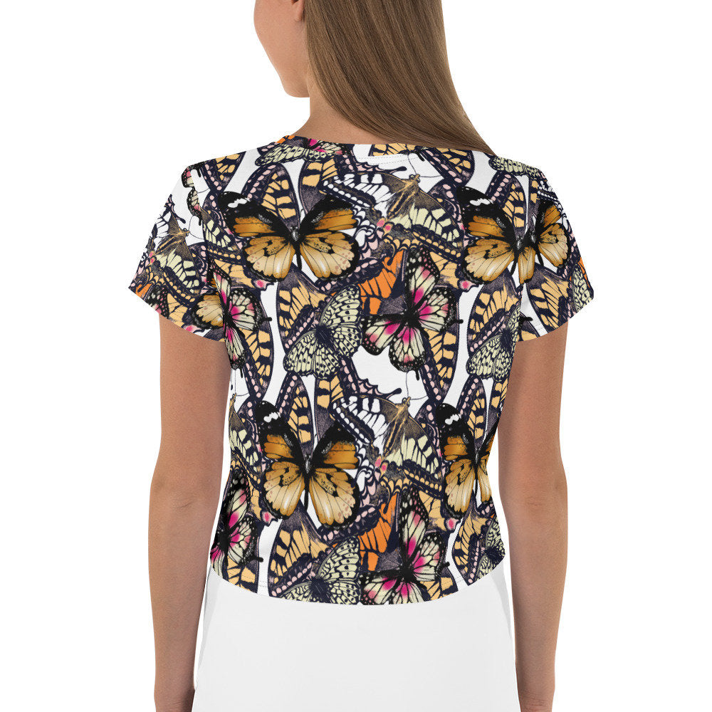 Butterfly Crop T-Shirt, Women's Crop Top - TheLastWordBish.com