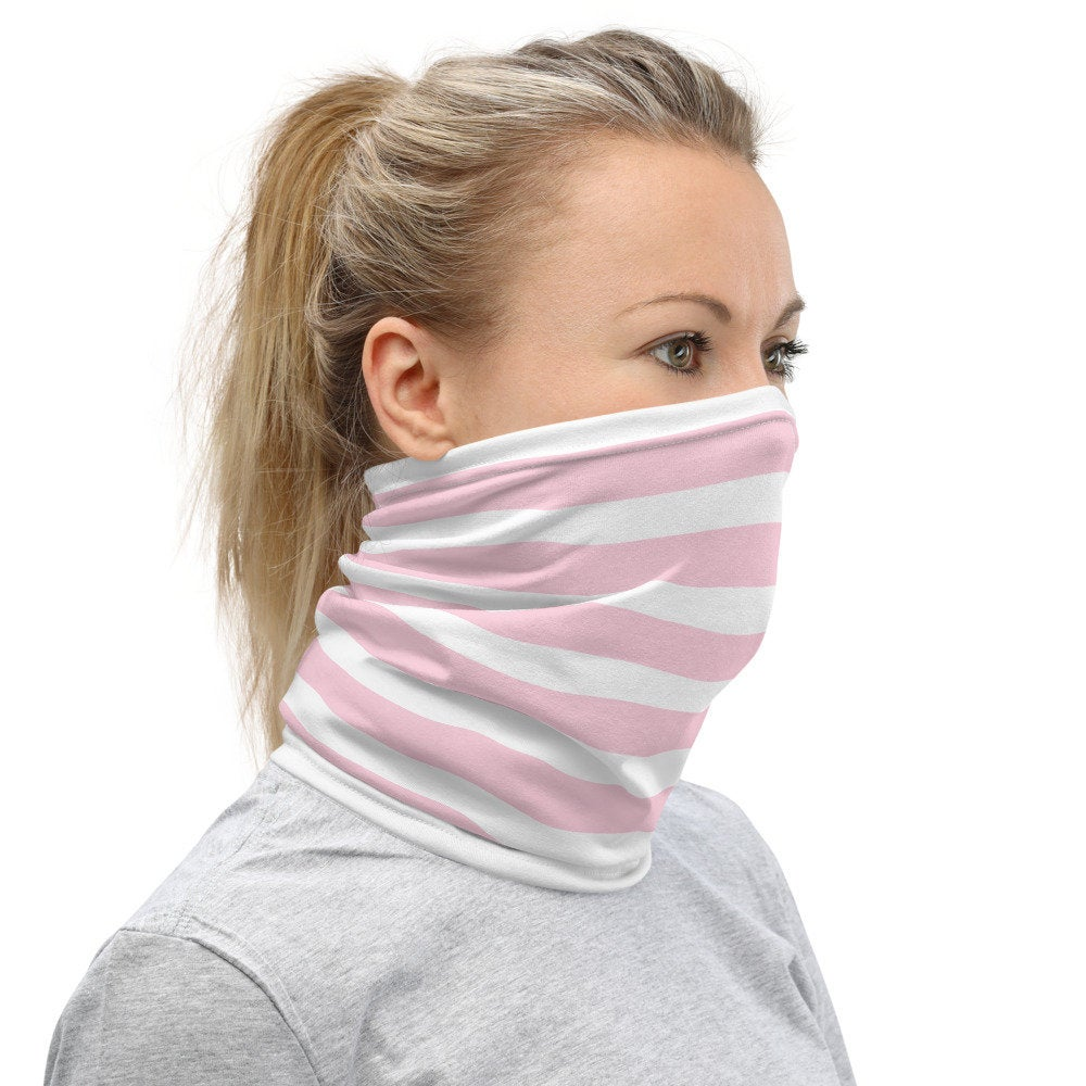Women's Face Mask with Pastel Pink Stripes, Neck Gaiter - TheLastWordBish.com