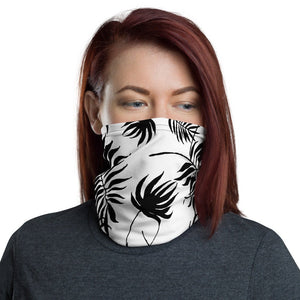 Women's Face Mask, Black Palm Leaves on White Neck Gaiter - TheLastWordBish.com