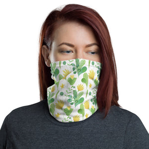 Women's Face Mask, Yellow and Green Floral Neck Gaiter - TheLastWordBish.com