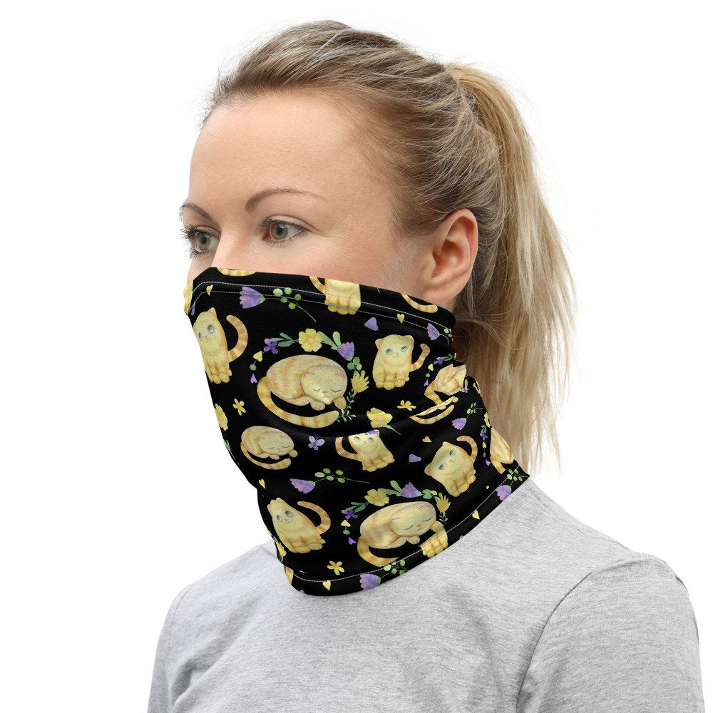 Women's Face Mask with Cat Print, Cat Lover Headband - TheLastWordBish.com